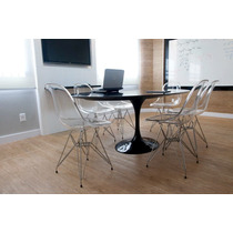 Mesa De Jantar + 6 Cadeiras Dkr Acrílico Com Base De Inox