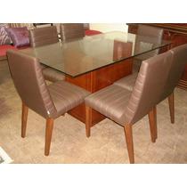 Mesa De Jantar Com 6 Cadeiras E Tampo De Vidro