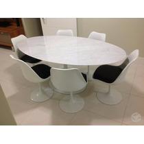Mesa Saarinen Carrara Oval 1,60 X 0,90 Com 6 Cadeiras Fibra.