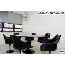 Mesa Jantar Oval Saarinen 1,80x1.00 Laqueada + 6 Cadeiras