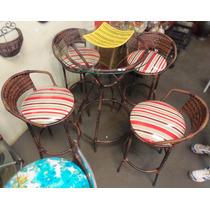Conjunto De Mesa Circular E 4 Cadeiras Rattan Junco Ferro