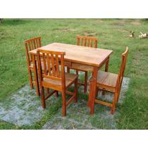 Mesa De Jantar Com 4 Cadeiras Em Madeira De Demolição