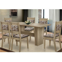 Sala De Jantar Com Mesa Hortência E 06 Cadeiras Orquídea Bp