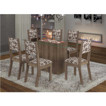Sala De Jantar Gourmet 6 Cadeiras Madeira Maciça Tampo Vidro