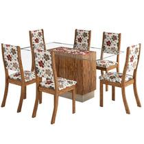Sala De Jantar Sany + 6 Cadeiras - Avelã E Primavera - Viero