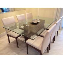 Sala De Jantar, Com 6 Cadeiras E Tampo Em Vidro