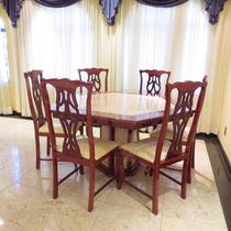Mesa De Jantar Sextavado Com Marmore + 6 Cadeiras