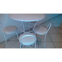 Jogo De Mesa Redonda Com 4 Cadeiras Bancos Retirar No Local