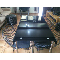 Mesa De Jantar De Vidro Com Quadro Cadeiras De Ferro