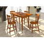 Conjunto Mesa E 4 Cadeiras De Madeira Maciça - Shopping Hm