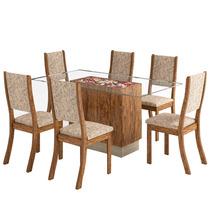 Sala De Jantar Sany + 6 Cadeiras - Avelã E Juta - Viero