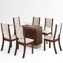 Mesa De Jantar Sany 6 Cadeiras - Chocolate E Amêndoa - Viero