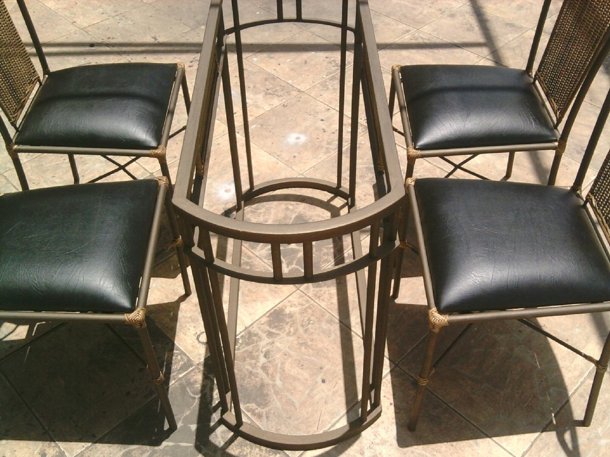 Mesa Com 4 Cadeiras De Ferro Antiga De Jardim Varanda Pesada Pictures  #A0682B 1200x900