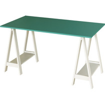 Mesa Escrivaninha Cavalete Branco Com Tampo Turquesa Em Mdf