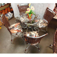 Conjunto De Mesa Circular E 4 Cadeiras Junco Varanda Rattan