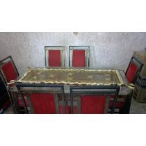 Mesa De Jantar Tampo De Vidro Base Ferro + 6 Cadeiras