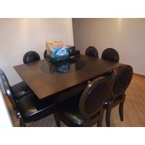 Mesa De Jantar Em Madeira Com Tampo Giratório E 8 Cadeiras.