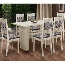 Mesa Hortência Com 6 Cadeiras Orquídea Lucerna Mk Decor