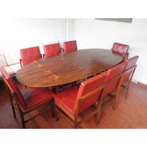 Mesa De Jantar Anos 50 + 8 Cadeiras Jacarandá Zalszupin
