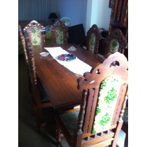 Mesa De Jantar E Cadeiras Antiga