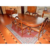 Mesa De Jantar Antiga - Com 8 Cadeiras - Estilo Provençal
