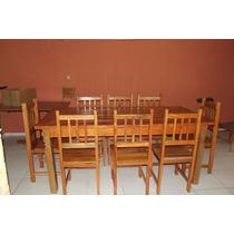 Mesa De Jantar Rústica C/ 8 Cadeiras Em Madeira De Demolição