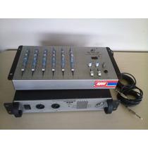 Mesa De Som 6 Canais + Amplificador 600w Ideal P/banda Music