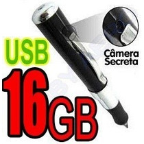 Caneta Espia 16gb Camera Filmadora Com Audio Video Cabo Usb
