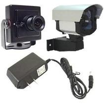 Kit Mini Câmera De Segurança + Caixa De Proteção + Fonte
