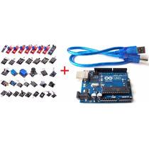 Kit Com 37 Módulos / Sensores P/ Arduíno + Uno R3 + Cabo Usb