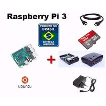 Kit Novo Raspberry Pi 3 (pi3) Completo+fonte+sd32+case+siste
