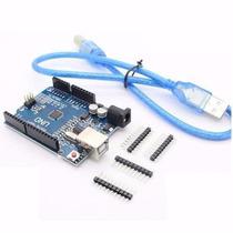 Arduino Uno R3 Com Cabo Usb + Sensor Hc-sr04