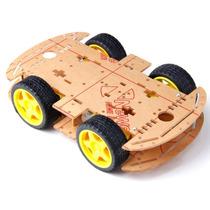 Kit Chassi 4 Rodas Robótica Robô Para Arduino