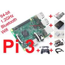 Kit Raspberry Pi3 (pi 3) Case+msd 64+diss.+fonte+joyst.+hdmi