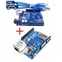 Kit Arduino Uno R3 Usb + Ethernet Shield W5100 + Tutoriais