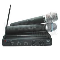 Microfone S/ Fio Duplo - Karsect Kru 302 - Uhf - 150 Mts