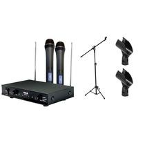 Kit Microfone Sem Fio Vws20 Mão Duplo +pedestal + 2 Cachimbo