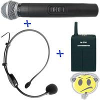Microfone S/ Fio Duplo Leson Mão + Headset Auricular Oferta