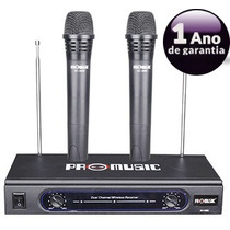 Microfone Duplo Vhf Sem Fio Profissional Promusic Até 46mts