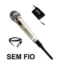 Kit Microfone Sem Fio Wirelles Karaokê Festa Igreja + Caixa