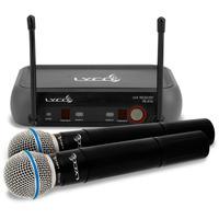 Microfone Sem Fio Duplo De Mão Lyco Vh202 Tipo Shure Com Nfe