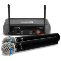 Microfone Sem Fio Duplo De Mão Lyco Vh202 Tipo Shure