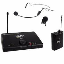 Microfone Sem Fio Uhf Headset Auricular Cabeça E Lapela Skp