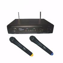 Microfone Sem Fio Profissional Duplo De Mão Uhf261 Skp