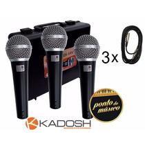 Kit De 3 Microfones Kadosh Kds 58v + Cabo + Cachimbo L O J A