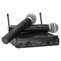 Microfone Sem Fio Duplo Uhf Wvngr Sm-58ii Com Case