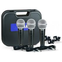 Kit Microfone Vokal C/ 3 Peças 3 Cabos + Case Vm500 Novo Nf