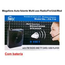 Megafone Auto-falante Multi-uso C/ Bateria Radio/fm/usb/msd