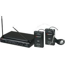 Microfone Sem Fio Duplo Headset + Transmissor Preto Karsect
