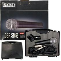 Microfone Dinâmico Mao Cachimbo Cabo 5 Metros Case Csr Sm58